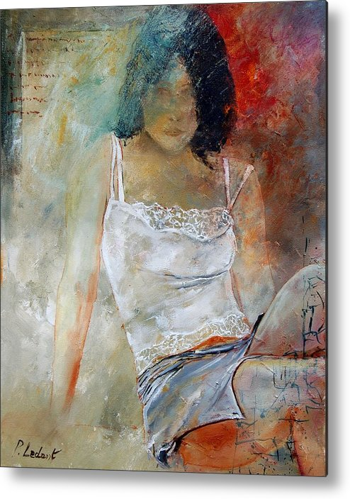 Nude Metal Print featuring the painting Young Girl Sitting by Pol Ledent