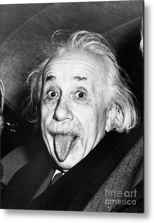 Physicist Metal Print featuring the photograph Albert Einstein Sticking Out His Tongue by Bettmann