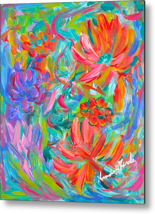 Abstract Metal Print featuring the painting Flower Twirl by Kendall Kessler
