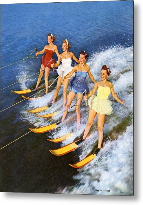 People Metal Print featuring the photograph Four Women Waterskiing by Graphicaartis