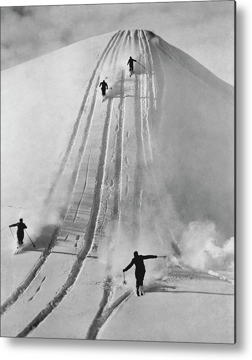 Skiing Metal Print featuring the photograph Skiing Straight by Fpg