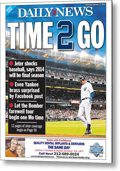 American League Baseball Metal Print featuring the photograph Daily News Back Page Derek Jeter by New York Daily News