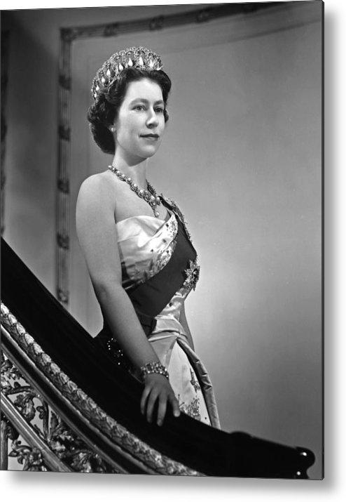 1950-1959 Metal Print featuring the photograph Queen Elizabeth II Portrait by Michael Ochs Archives