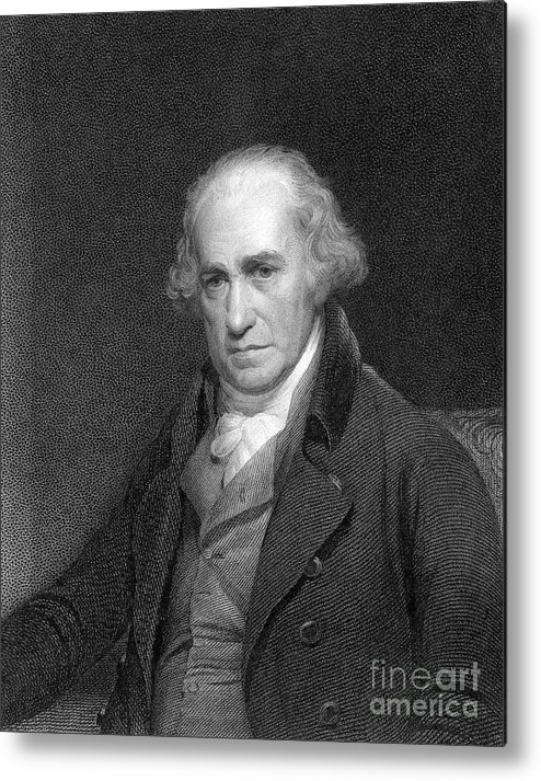 Event Metal Print featuring the drawing James Watt, Scottish Engineer by Print Collector