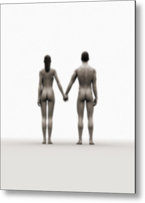 Heterosexual Couple Metal Print featuring the digital art A Naked Couple Holding Hands by Jorg Greuel