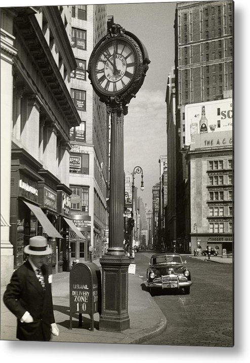 Public Mailbox Metal Print featuring the photograph A Street Clock On Fifth Ave., Nyc by George Marks