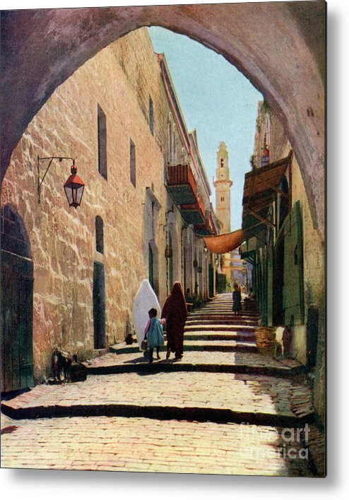 Shadow Metal Print featuring the drawing A Street In Jerusalem, Israel, 1926 by Print Collector