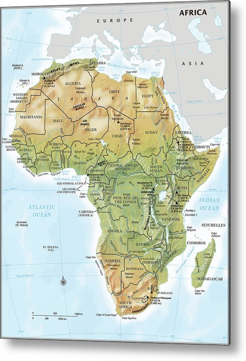 Topography Metal Print featuring the digital art Africa Continent Map With Relief by Globe Turner, Llc