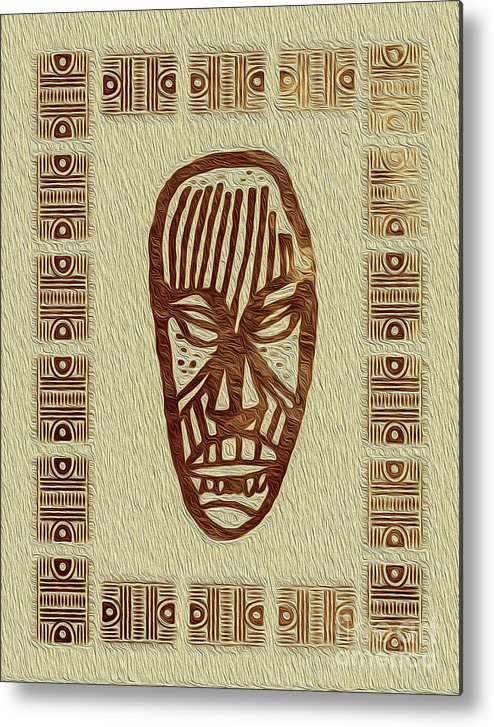 Art Print Metal Print featuring the digital art African Tribal Mask Expression 2 by Kenneth Montgomery