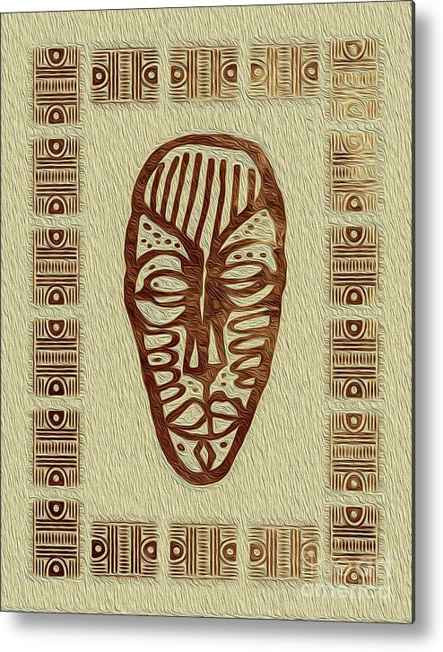 Art Print Metal Print featuring the digital art African Tribal Mask Expression 3 by Kenneth Montgomery