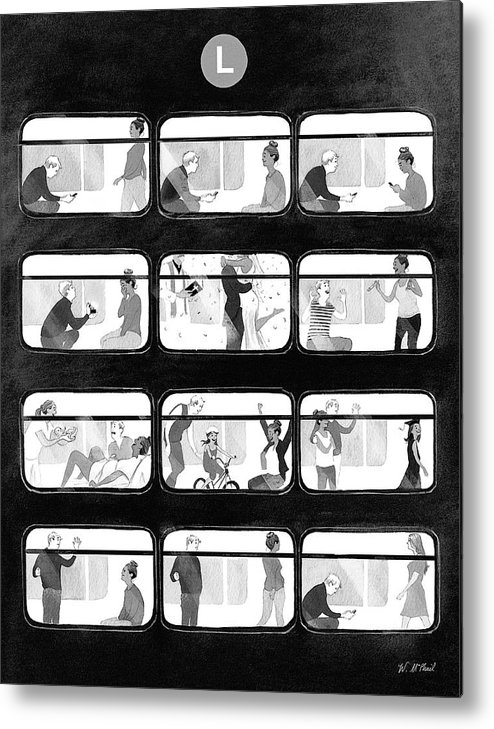 Train Metal Print featuring the drawing An L Train Love Story by Will McPhail