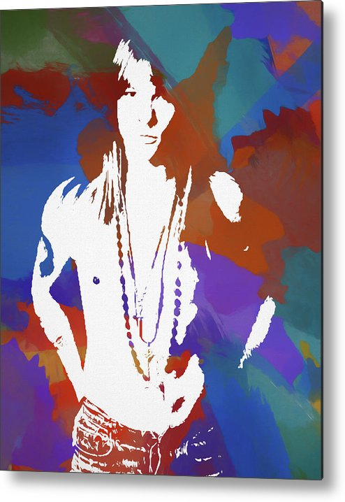Axl Rose Metal Print featuring the painting Axl Rose Color Blast by Dan Sproul