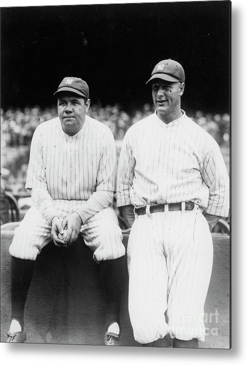 American League Baseball Metal Print featuring the photograph Babe Ruth Lou Gehrig Yankee Stadium by Transcendental Graphics