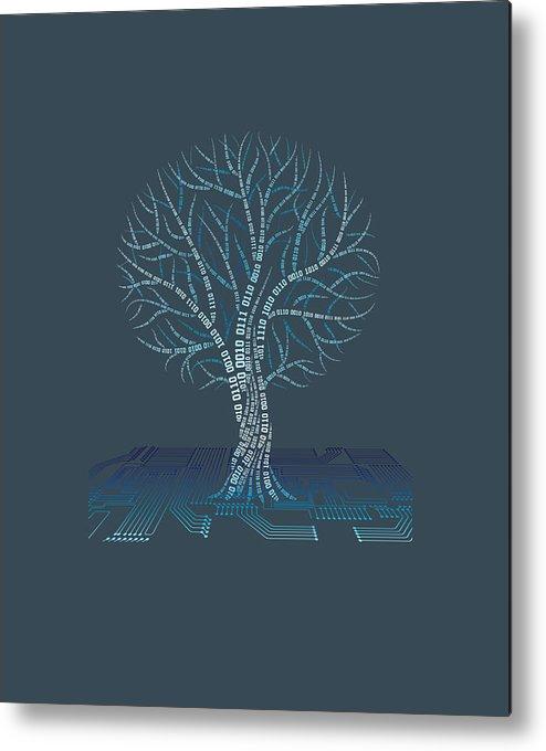 girls' Novelty Clothing Metal Print featuring the digital art Binary Tree Computer Coding T-shirt by Do David