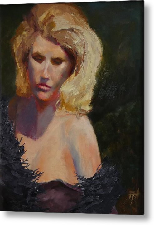 Woman Metal Print featuring the painting Blond in Black by Irena Jablonski