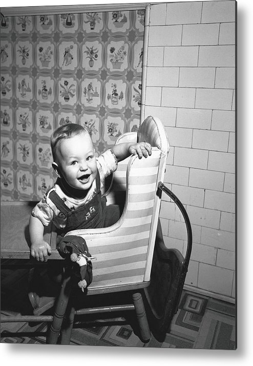Child Metal Print featuring the photograph Boy 2-3 Sitting In High Chair, B&w by George Marks