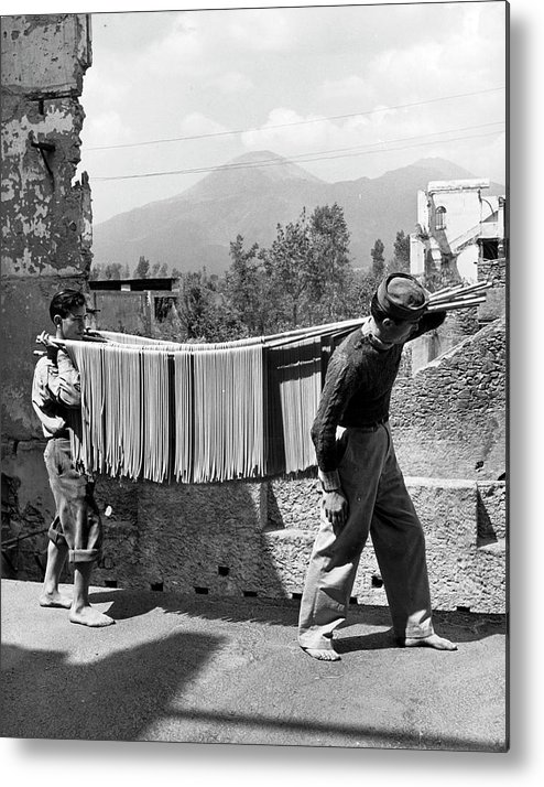 Working Metal Print featuring the photograph Boys Working In Pasta Factory Carry by Alfred Eisenstaedt