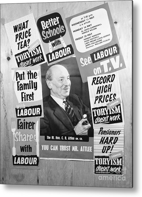 Art Metal Print featuring the photograph British Labour Party Election Posters by Bettmann