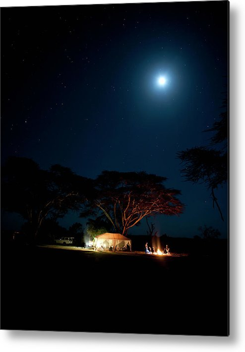 Tranquility Metal Print featuring the photograph Camping Under Fever Tree And Full Moon by Mike D. Kock