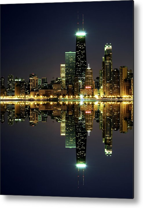 Lake Michigan Metal Print featuring the photograph Chicago Skyline Reflected On Lake by Pawel.gaul