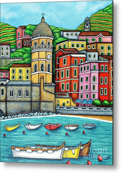 Italy Metal Print featuring the painting Colours of Vernazza, Cinque Terre by Lisa Lorenz