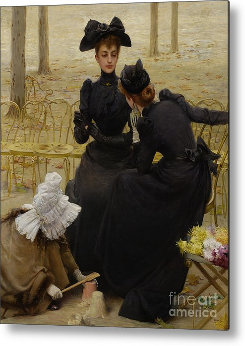 Oil Painting Metal Print featuring the drawing Conversation In The Jardin Du by Heritage Images