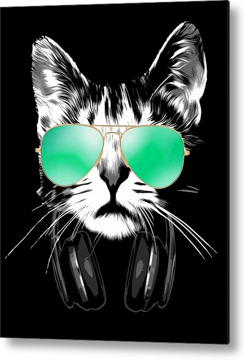 Cat Metal Print featuring the digital art Cool DJ Cat by Filip Schpindel
