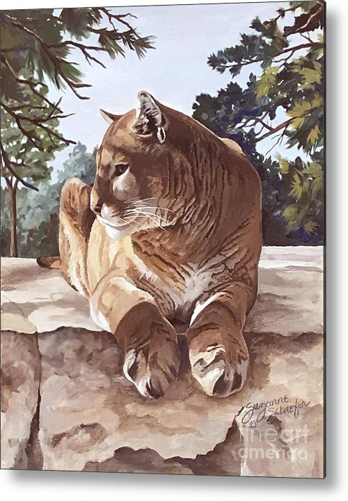 Cougar Metal Print featuring the painting Cougar Outlook by Suzanne Schaefer