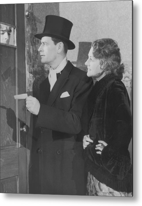 Young Men Metal Print featuring the photograph Couple In Formal Wear Showing Pass To by Fpg