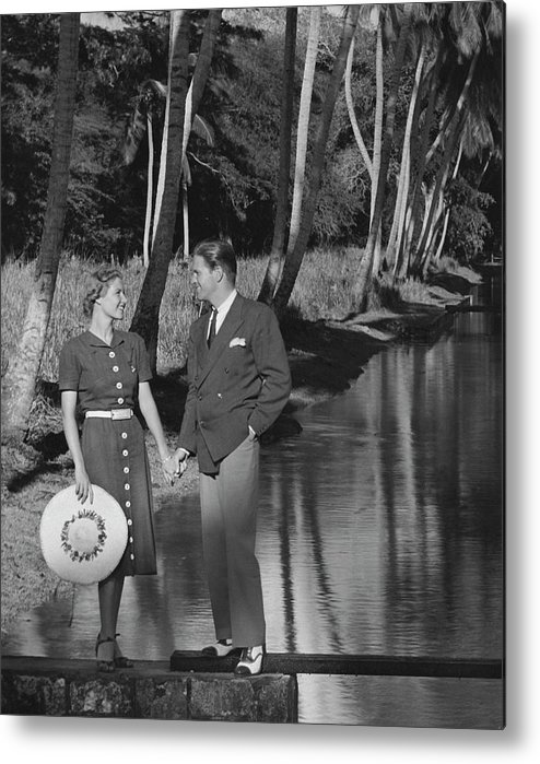 Heterosexual Couple Metal Print featuring the photograph Couple Outdoors by George Marks
