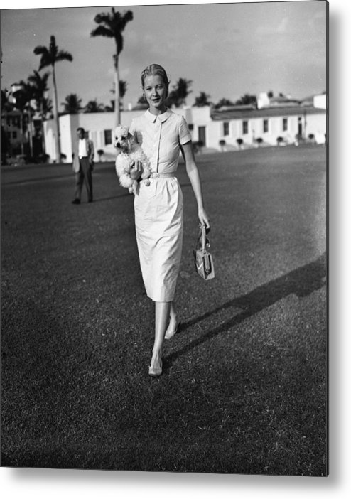 People Metal Print featuring the photograph C.z. Guest At The Everglades Club In by Bert Morgan