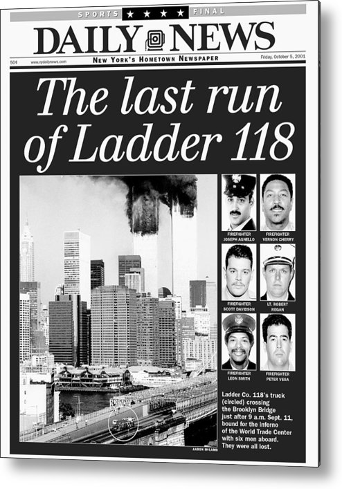 Vertical Metal Print featuring the photograph Daily News Front Page Dated Oct. 5 by New York Daily News Archive
