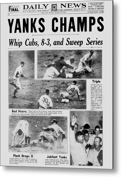 American League Baseball Metal Print featuring the photograph Daily News Front Page October 10, 1938 by New York Daily News Archive