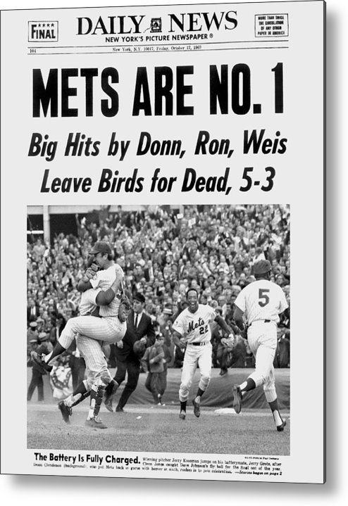 American League Baseball Metal Print featuring the photograph Daily News Front Page October 17, 1969 by New York Daily News Archive