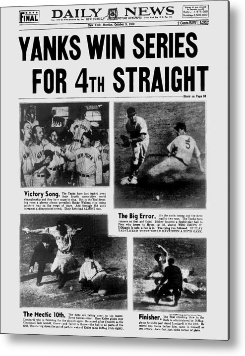 American League Baseball Metal Print featuring the photograph Daily News Front Page October 9, 1939 by New York Daily News Archive
