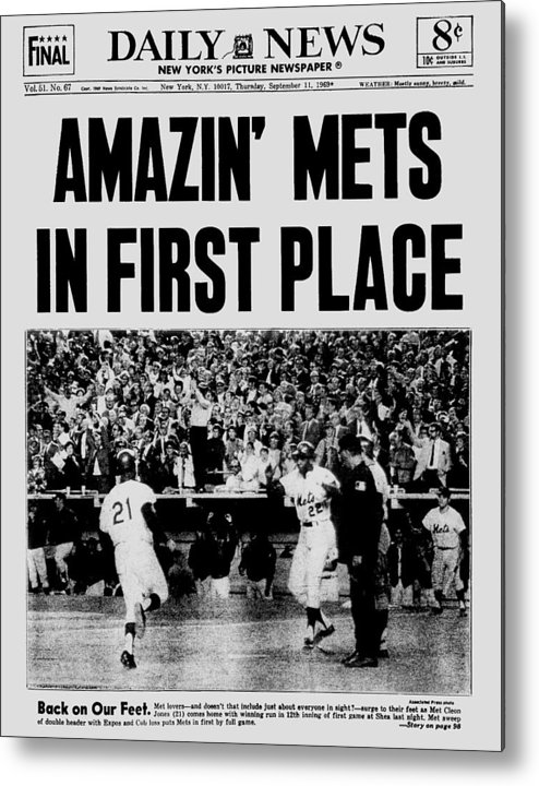 American League Baseball Metal Print featuring the photograph Daily News. Front Page. September, 11 by New York Daily News Archive