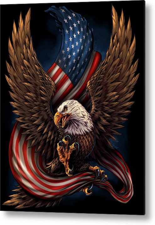 Eagle And Flag Metal Print featuring the digital art Eagle And Flag by Flyland Designs