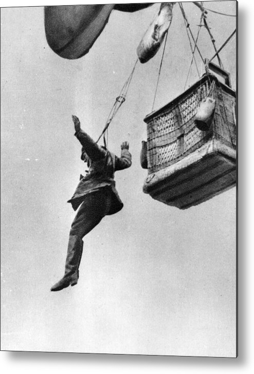 Parachuting Metal Print featuring the photograph Early Parachute by Three Lions