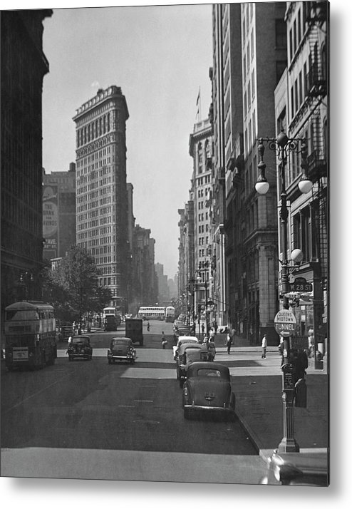 1950-1959 Metal Print featuring the photograph Fifth Ave. And The Flatiron Bldg by George Marks