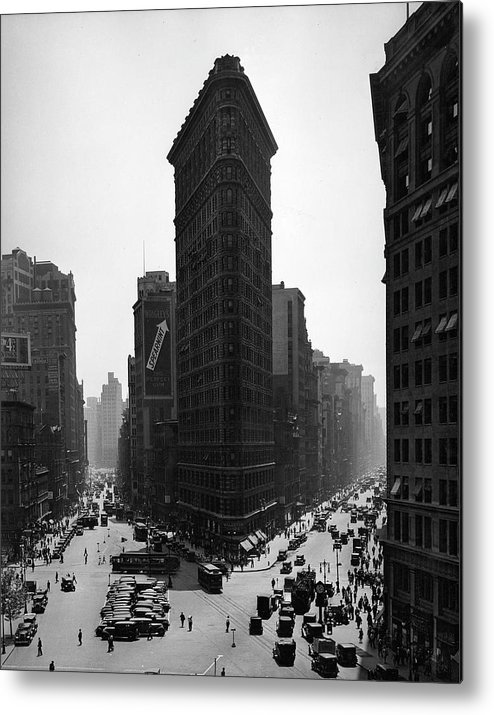 People Metal Print featuring the photograph Flat Iron Building by The New York Historical Society