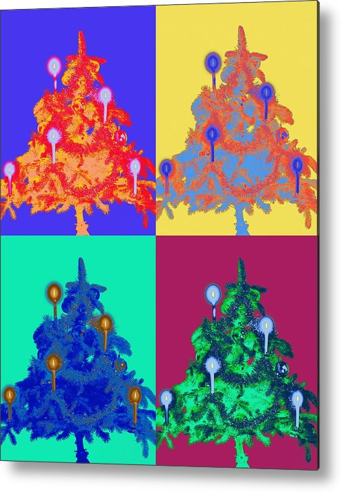 Celebration Metal Print featuring the photograph Four Christmas Trees Decorated With by Peter Weber