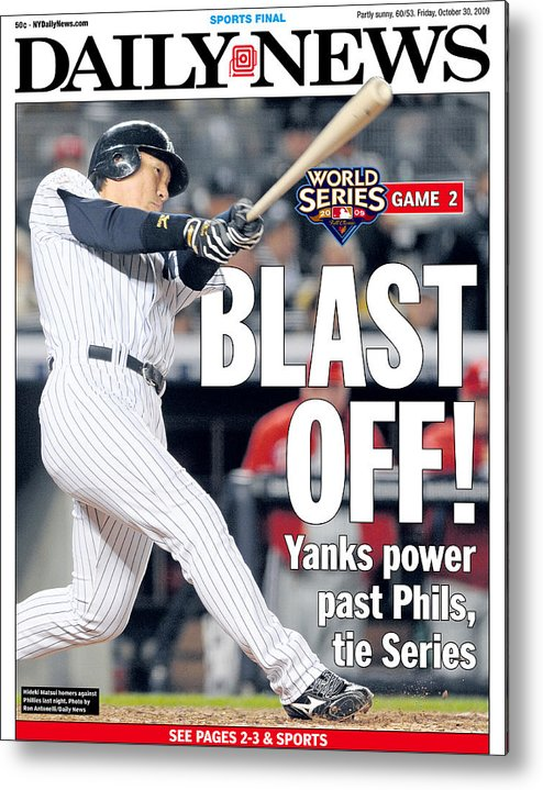 American League Baseball Metal Print featuring the photograph Front Page Of The Daily News From by New York Daily News Archive