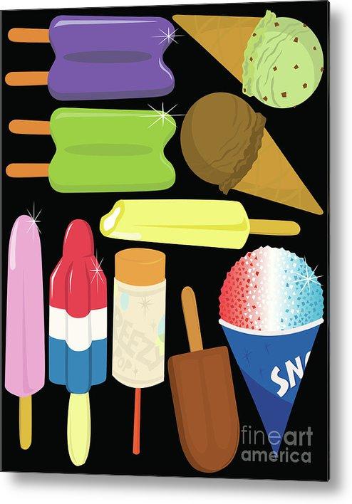 Mint Ice Cream Metal Print featuring the digital art Frozen Treats by Rangepuppies