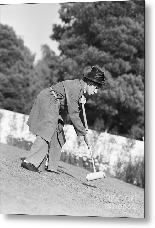 People Metal Print featuring the photograph Harpo Marx Playing Croquet by Bettmann