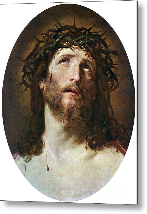 People Metal Print featuring the drawing Head Of Christ Crowned With Thorns by Print Collector