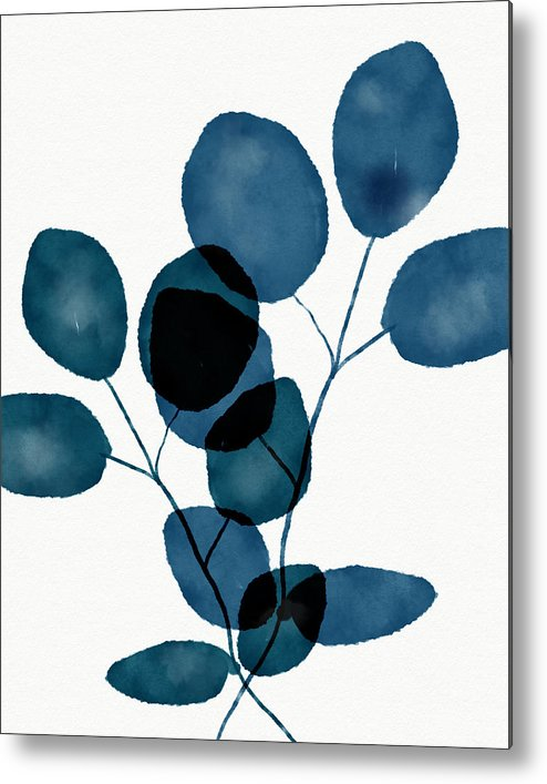 Botanical Metal Print featuring the mixed media Indigo Eucalyptus 3- Art by Linda Woods by Linda Woods