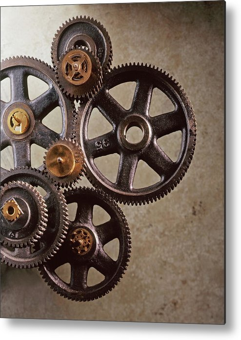 Manufacturing Equipment Metal Print featuring the photograph Industrial Gears by Dny59