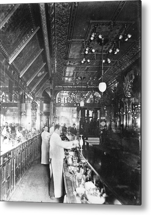 Working Metal Print featuring the photograph Inside Hannah And Hoggs Saloon by Chicago History Museum