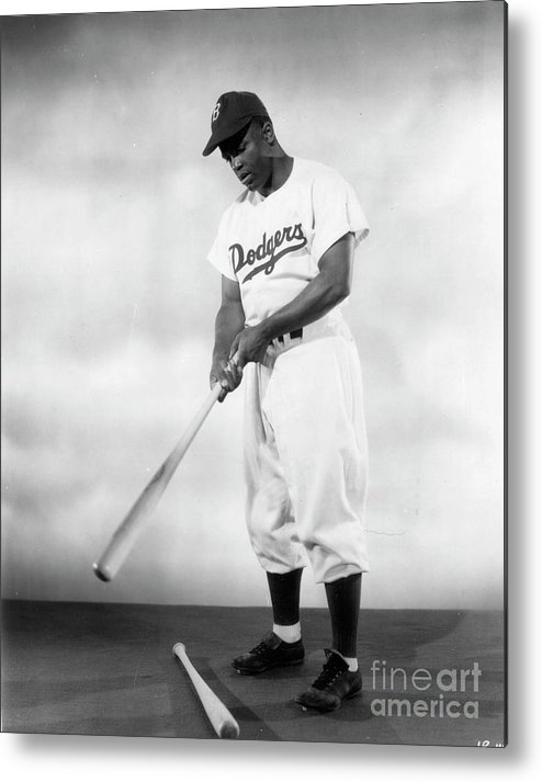 People Metal Print featuring the photograph Jackie Robinson Full Figure Portrait by Transcendental Graphics
