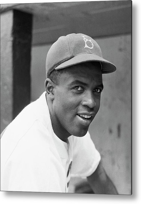 Baseball Cap Metal Print featuring the photograph Jackie Robinson Smiling by Bettmann